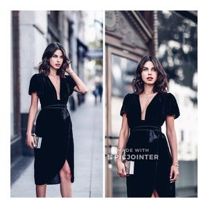 Express Velvet Tie Midi Dress Black 6